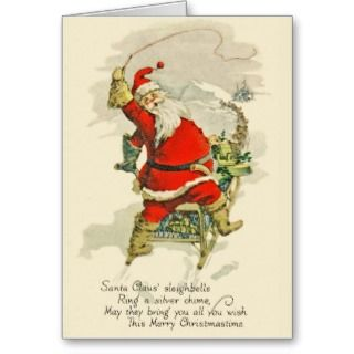Vintage Design Christmas Santa & His Sled Dogs Greeting Cards