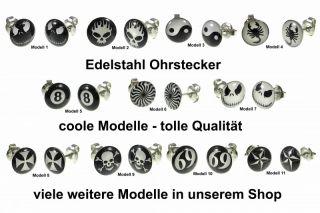 2x Ohrstecker Edelstahl Ohrringe Schwarz Weiß Skorpion Eisernes Kreuz