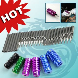 31 pcs kit STAINLESS STEEL TATTOO 6 GRIPS TUBES SLEEVES Tips Nozzle