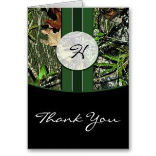 Hunter Green & Black Camo Wedding Thank You Cards Style 1