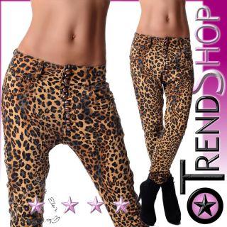 Neu Hüft Jeans Damen Hose Harem Aladin Boyfriend Leopard Leo Gold XS