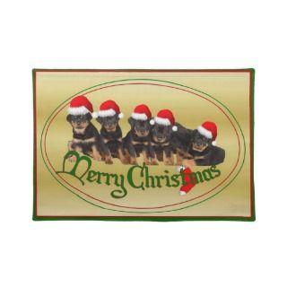 Merry Christmas Rottweiler Puppies Place Mats