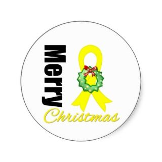 Sarcoma Awareness Merry Christmas Ribbon Stickers