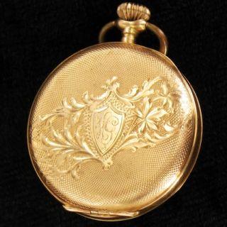Kleine reich verzierte Damen Taschenuhr in 14 Kt Gold Pocket watch aus