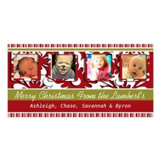 Red Flowers Tiny Stripes Christmas Photo Picture Card