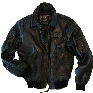 Alpha Industries Lederjacke CWU Leather schwarz   fällt