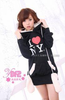 love NY Bear Ear Fleece Hoodie Sweatshirt Glove Black