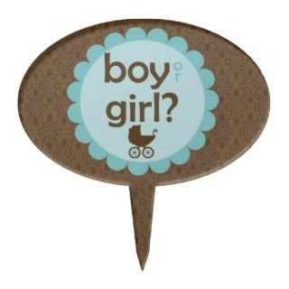 Baby Carriage Gender Reveal Party Oval Cake Topper