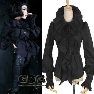 BLACK PUNK VISUAL KEI GOTHIC Y399 QUEEN RUFFLE SHIRT +BELT S XL
