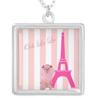 Ooh La La French Poodle and Eiffel Tower Necklaces