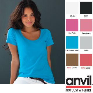 Anvil Ladies Sheer Scoop Crew Neck T Shirt Shirt XS XXL