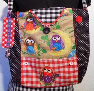 Tasche Schultertasche Handtasche Eule Owl Bird Applikation Mit