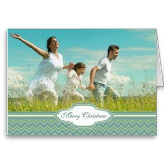 Merry Christmas Zig Zag Pattern Your Photo Greeting Card