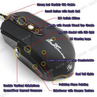 LX Optisch Maus USB 6 Tasten Scrollrad für Gaming Gamer PC Videospiel