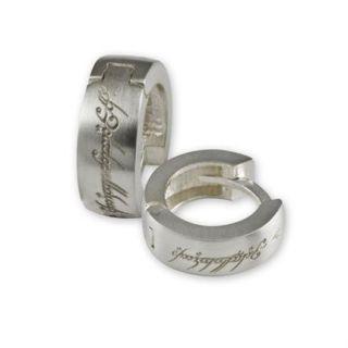 LOTR Herr der Ringe Schmuck Elbenschrift Creolen Paar aus Silber