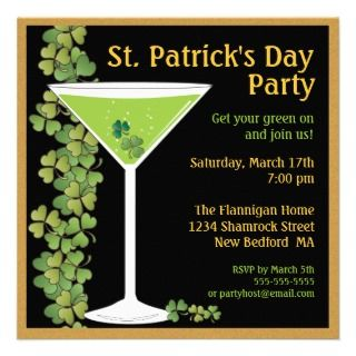 St. Patricks Day Shamrock Martini Invitation
