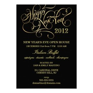 Elegant Red Gold New Years Open House Invitations