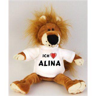 Plüschtiere Löwe mit Ich liebe Alina T Shirt, Größe 27 cm