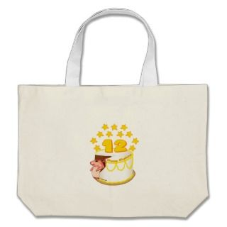 12 Year Old Birthday Cake Mouse Canvas Bag