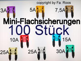 100 Stück KFZ Sicherungen Mini Flach Sicherungen Set