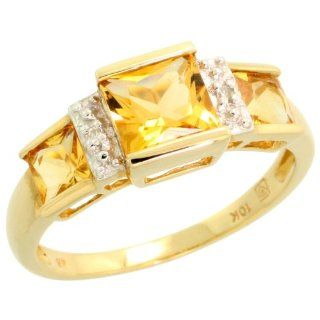 10 Karat Gold Drei  Stein Citrin Ring Brilliantschliff Diamanten