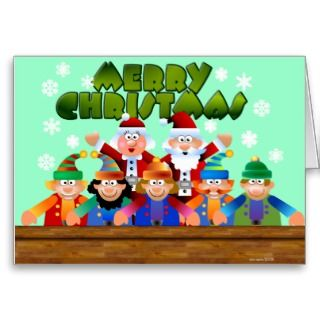 Merry Christmas Santa and Elves Greeting Card