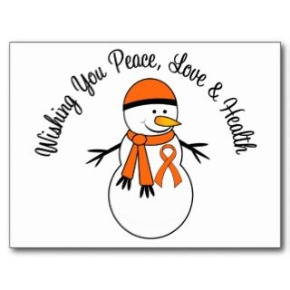 Christmas Snowman Kidney Cancer Orange Ribbon Post Cards