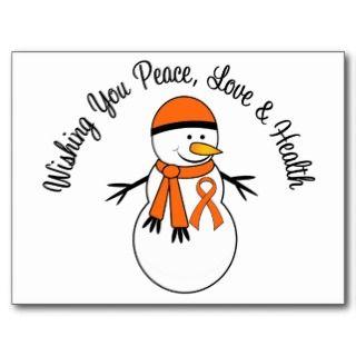 Christmas Snowman Kidney Cancer Orange Ribbon Post Cards