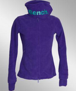 Bench Funnel Neck Fleece Jacke lila Logo türkis Gr. L NEU