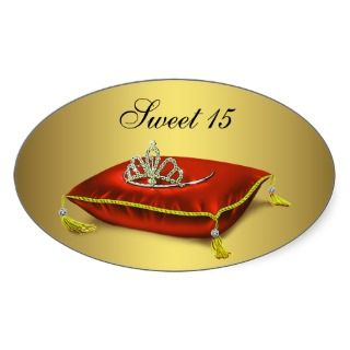 Red Black Gold Tiara Sweet 15 Quinceanera Custom Announcements