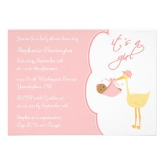 Cute its a girl pink stork baby shower invitation