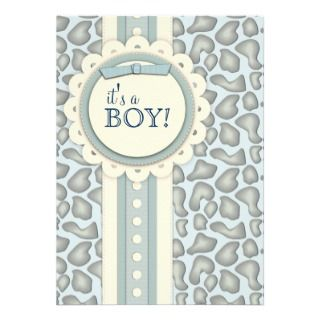 Sweet Giraffe Scrapbook Baby Shower Invite  Blue