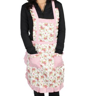 Stylish Rose Flower Pattern Pocket Lace Cooking Apron 3 Styles