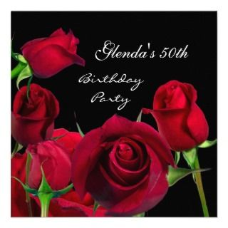Invitation 50th Birthday Party Red Roses Black