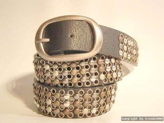 Nietengürtel Leder Silber Titanfarbige Nieten Dunkelbraun Schwarz