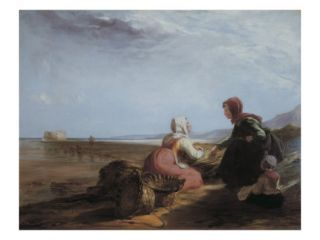 Fisherwomen by the Coastnear Boulgone Giclee Print by William Collins