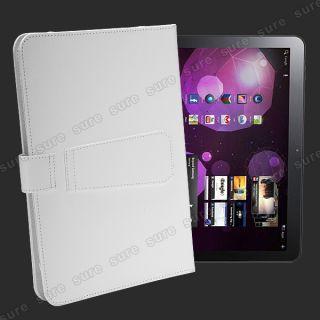 weiss Ledertasche case cover Huelle fuer Samsung Galaxy Tab 2 10 1