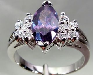 10 kt/466° WEIß GOLD FILLED RING AMETHYST VIOLETT 4,10 gr
