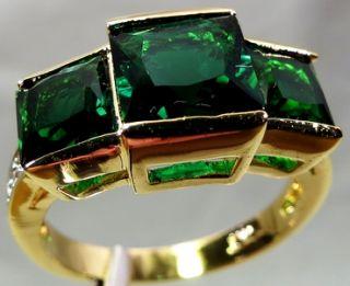 10 kt/466° GELB GOLD FILLED RING SMARAGD GRÜN 4,56 gr