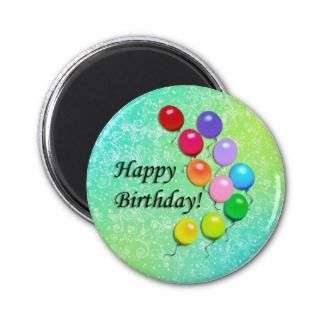 Happy Birthday Balloons Party Magnet