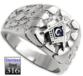 Mens Masonic Mason Logo Stainless Steel Ring 9B