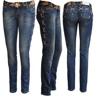Baxx Sexy Damen Jeans Hose mit Stick Muster CBW 470 Women Jeans Pants