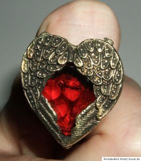 Ring Angel Wings Vintage Flügelherz blutrot Kristall Steampunk