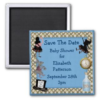 Alice in Wonderland Blue Save The Date Baby Shower Fridge Magnet