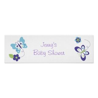 Mod Spring Butterfly Baby Shower Banner Sign posters by little_prints