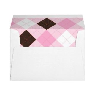 Modern Pink Argyle Baby Shower Envelopes envelopes by little_prints