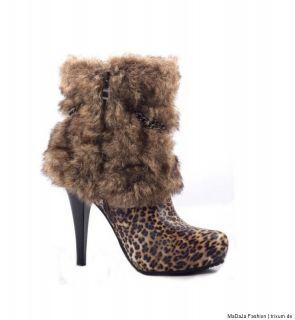 Plateau High Heels Stiefeletten Stiefel Boots Schuhe Fell Sexy Leo