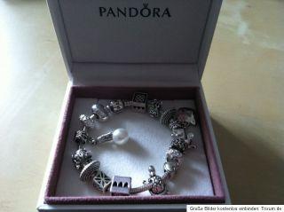 Original Pandora Armband 19cm, 925 Ale Silber, mit 16 Elementen Beads