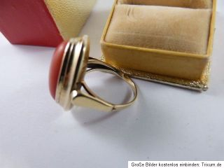 Antik gold 585 14k goldring koralle ring korallering coral gold ring