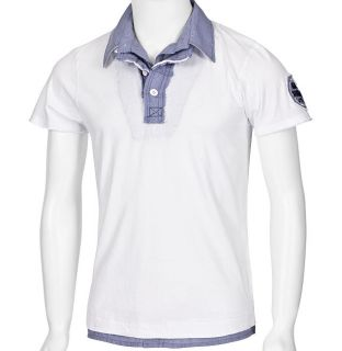 MONOPOL Polo Shirt PO505 S XXL grey white T Shirt Hemd grau